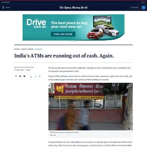 India's ATMs are running out of cash. Again.