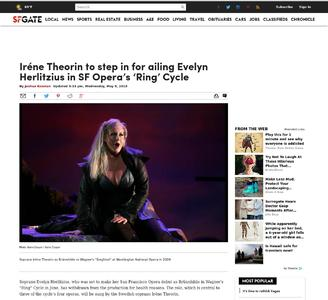 Iréne Theorin to step in for ailing Evelyn Hertlitzius in SF Opera's 'Ring' Cycle