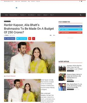 Ranbir Kapoor, Alia Bhatt's Brahmastra To Be Made On A Budget Of 250 Crores?
