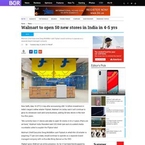 Walmart to open 50 new stores in India in 4-5 yrs