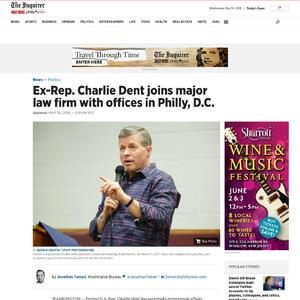 Ex-Rep. Charlie Dent joins major law firm with offices in Philly, D.C.