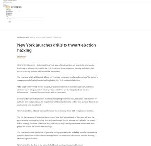 New York launches drills to thwart election hacking