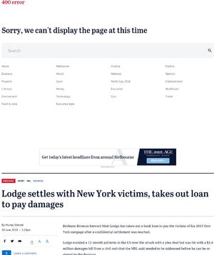 Lodge takes out loan to pay $1.6 million damages to New York victims
