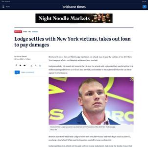 Lodge settles with New York victims, takes out loan to pay damages