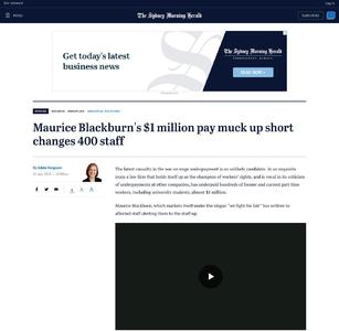 Maurice Blackburn's $1 million pay muck up short changes 400 staff