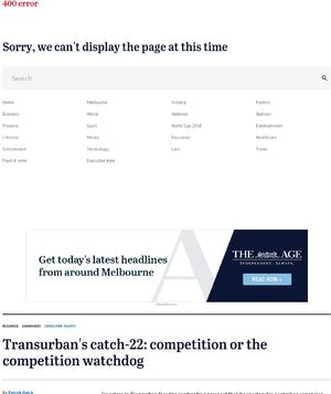Transurban's catch-22: competition or the competition watchdog