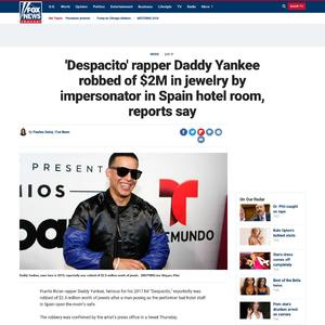 'Despacito' rapper Daddy Yankee robbed of $2M in jewelry by impersonator in Spain hotel room, reports say