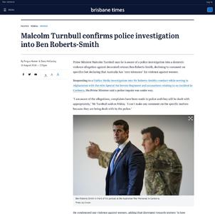 Malcolm Turnbull confirms police investigation into Ben Roberts-Smith