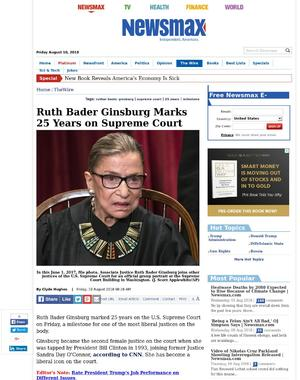 Ruth Bader Ginsburg Marks 25 Years on Supreme Court