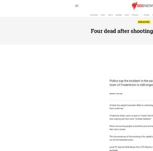 Four dead after shooting in Canada: police