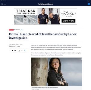 Emma Husar cleared of lewd behaviour by Labor investigation