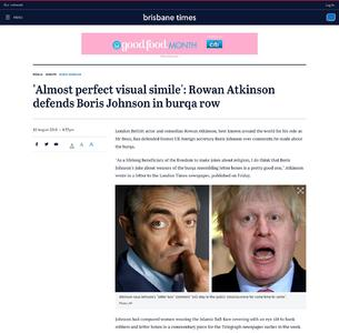 'Almost perfect visual simile': Rowan Atkinson defends Boris Johnson in burqa row
