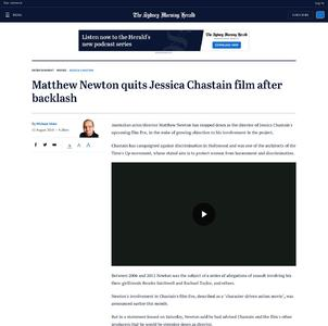 Matthew Newton quits Jessica Chastain film after backlash
