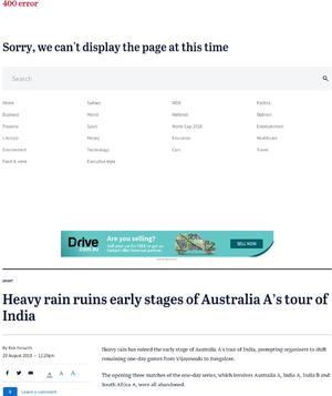 Heavy rain ruins early stages of Australia A's tour of India