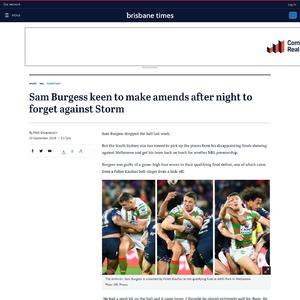 Sam Burgess keen to make amends after night to forget against Storm