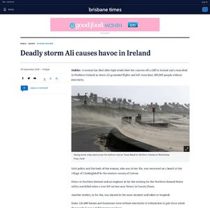 Deadly storm Ali causes havoc in Ireland