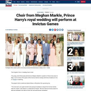 Choir from Meghan Markle, Prince Harry's royal wedding will perform at Invictus Games