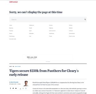 Tigers secure $250k from Panthers for Cleary's early release