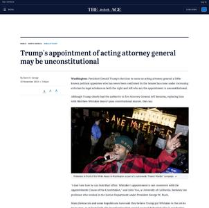 Trump's appointment of acting attorney general may be unconstitutional