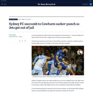 Sydney FC succumb to Cowburn sucker-punch as Jets get out of jail