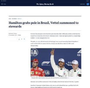 Hamilton grabs pole in Brazil, Vettel summoned to stewards