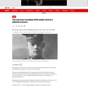 The last man: Canadian WWI soldier died at 2 minutes to peace