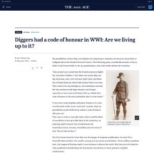 Diggers had a code of honour in WWI: Are we living up to it?