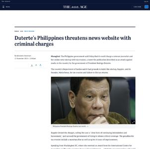 Duterte's Philippines threatens news website with criminal charges