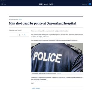 Man shot dead by police at Queensland hospital