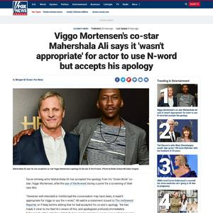 Viggo Mortensen's co-star Mahershala Ali says it 'wasn't appropriate ' for actor's N-word use but accepts his apology