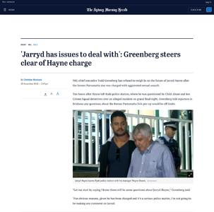 'Jarryd has issues to deal with': Greenberg steers clear of Hayne charge