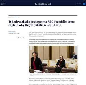 'It had reached a crisis point': ABC board directors explain why they fired Michelle Guthrie