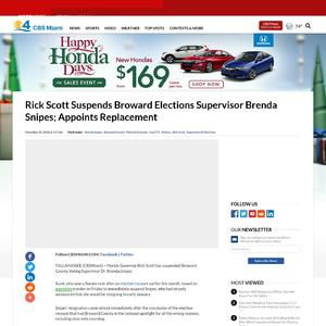 Rick Scott Suspends Broward Elections Supervisor Brenda Snipes; Appoints Replacement
