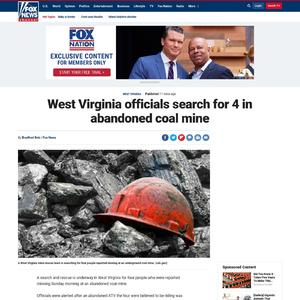 West Virginia officials search for 4 in abandoned coal mine