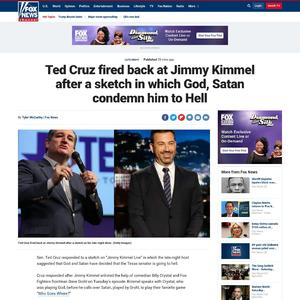 Ted Cruz fired back at Jimmy Kimmel after a sketch in which God, Satan condemn him to Hell