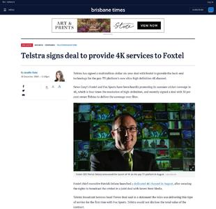 Telstra signs deal to provide 4K services to Foxtel
