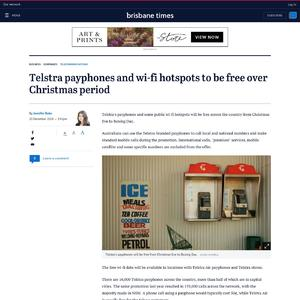 Telstra payphones and wi-fi hotspots to be free over Christmas period