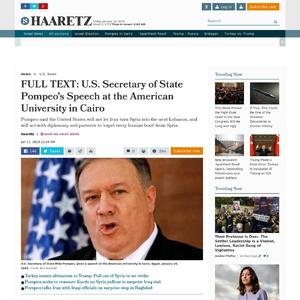 FULL TEXT: U.S. Secretary of State Pompeo's speech at the American University in Cairo