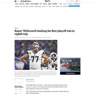 Rams' Whitworth looking for first playoff win in eighth trip