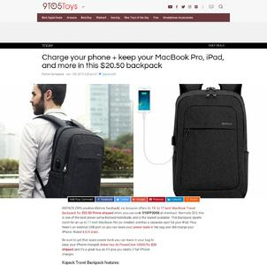 Charge your phone + keep your MacBook Pro, iPad, and more in this $20.50 backpack