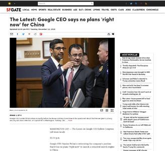 The Latest: Google CEO says no plans 'right now' for China
