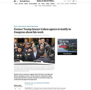 Former Trump lawyer Cohen agrees to testify to Congress about work for Trump