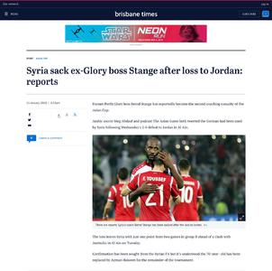 Syria sack ex-Glory boss Stange after loss to Jordan: reports