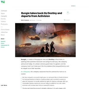 Bungie takes back its Destiny and departs from Activision