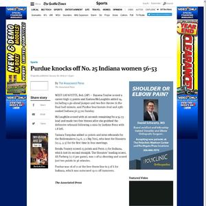 Purdue knocks off No. 25 Indiana women 56-53