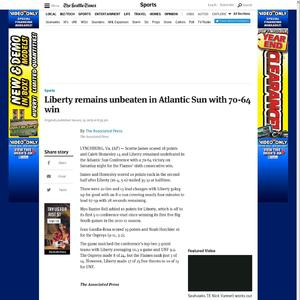 Liberty remains unbeaten in Atlantic Sun with 70-64 win