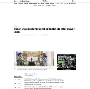Polish PM calls for respect in public life after mayor slain