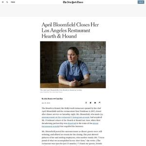 April Bloomfield Closes Her Los Angeles Restaurant Hearth & Hound