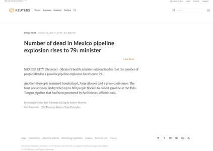 Number of dead in Mexico pipeline explosion rises to 79: minister
