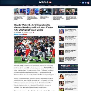 How to Watch the AFC Championship Game — New England Patriots vs. Kansas City Chiefs Live Stream Online